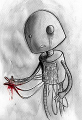 repair and re-wire. (neilslorance) Tags: art ink dark robot blood sad drawing emo wires cogs