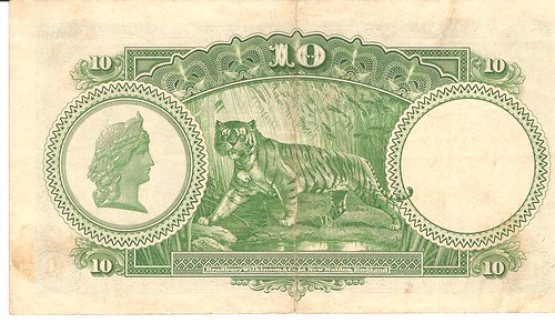 Ten dollars 1935 King George V, Straits Settlements Bank Note(Back)