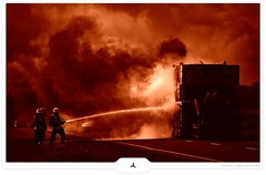 Fire On The Road (Gert van Duinen) Tags: road cars truck fire crane smoke digitalart fireman firemen firetrucks firefighter 2009 firedepartment firefighters firebrigade rescuesquad dutchartist fightingfire cresk theunforgettablepictures gertvanduinen