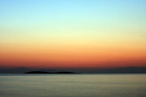 sunset at vouliagmeni - minimal