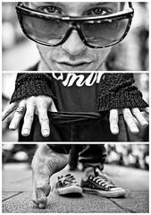 Triptychs of Strangers #15, The Formidable Dancer - Hamburg (adde adesokan) Tags: street travel portrait blackandwhite bw white black sunglasses pen beard photography shoes triptych bokeh buttons voigtlander voigtlaender hill hamburg bart streetphotography olympus dancer stranger portrt rings sw mann brille schwarzweiss brcke stpauli weiss schuhe chucks schwarz tarzan voigtlnder sonnenbrille sternschanze lauryn 25mm triptic ringe tryptic schanze triptychs f095 streetphotographer m43 triptychon mft mirrorless triptychons 100strangers 100stranges microfourthirds theblackstar epl2 mirrorlesscamera streettogs triptychsofstrangers