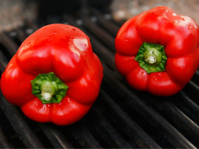 Grilled Roasted Red Peppers - roasting