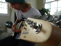 serenade (t-a-r) Tags: boy music white cute green electric closeup hair photography focus long guitar hipster band hippy artsy fender blond blonde hippie vans beanie hott