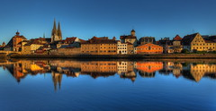 The Skyline of Regensburg and its reflection in the Danube (1982Chris911 (Thank you 1.250.000 Times)) Tags: blue sky reflection tower church water weather canon germany bayern deutschland bavaria high europe dynamic dom awesome christian spire 5d range ratisbon 1740mm hdr highdynamicrange mkii mark2 canoneos5d bavarianlandscape lglass canonphotography f40l canonllens hdrphotography beautifulgermany hdrpictures beautifulbavaria canoneos5dmarkii canon5dmkii 5dmarkii canon5dmark2 5dmark2 canon5dmarkii eos5dmarkii krieglsteiner 1982chris911 christiankrieglsteiner christiankrieglsteinerphotography schnesdeutschand