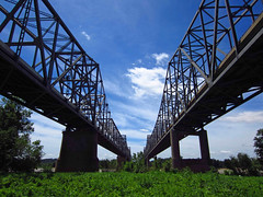 Twin Bridges (djh644) Tags: bridge canon ky powershot henderson ohioriver evansville in elph300 bistatevietnamgoldstartwinbridges