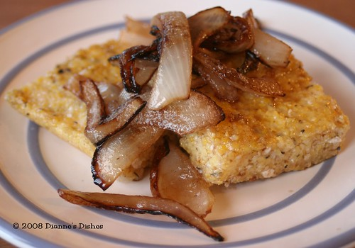 "Pan ""Fried"" Feta and Thyme Polenta with Caramelized Onions"