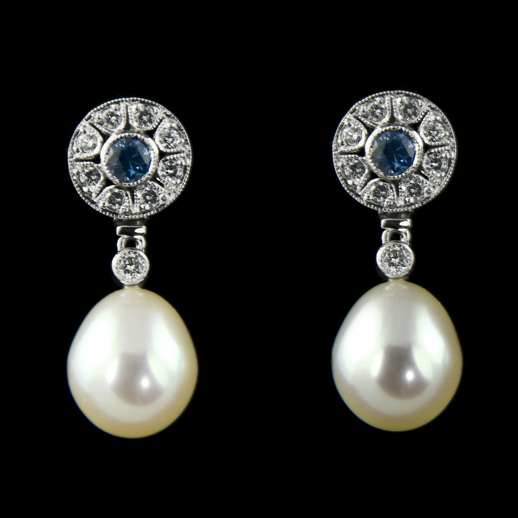 Sapphire, diamond and pearl earrings