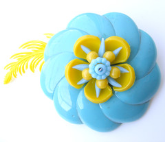 Blue and Yellow Vintage Flowers Brooch