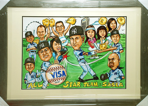 Caricatures VISA Yankees baseball colour framed