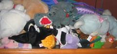 detail of the stuffed animals in the fishtank