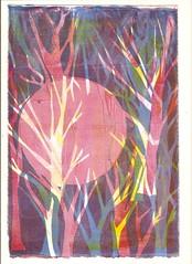 'pink sun rainbow trees' - edamamepress on Flickr