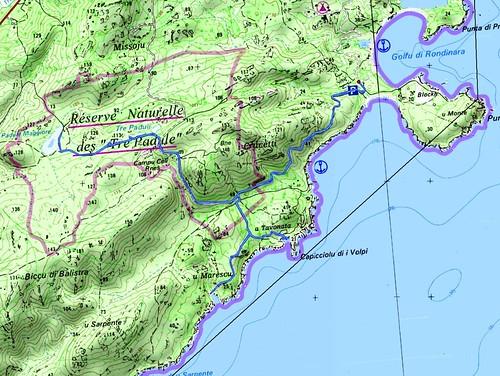 Carte du Sud de la baie de Rondinara et de la réserve des Tre Padule