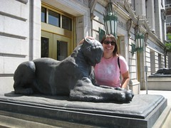 Amy petting a kitty in downtown Denver. (07/03/2008)