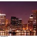 Office buildings at night. Inner Harbor, Baltimore, Maryland, USA.