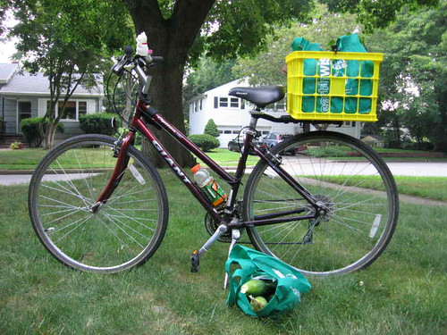 Bike with milk crate