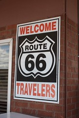 Route 66 Travelers Sign in Winslow, Arizona