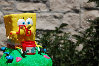 Sponge Bob blowing bubbles