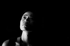 (ARTeTT) Tags: light portrait people blackandwhite bw woman black girl face darkness bn ombre blackground stolen ritratto biancoenero blancinegre blancetnoir audel nobackground canonef70200f28isusm