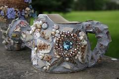 Mosaic Water Jug (Cabinet of Old Secret Loves) Tags: bird art vintage mosaic jewels nestforget~me~nots