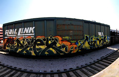 AFEX  COMA (TRUE 2 DEATH) Tags: california railroad autostitch streetart train graffiti la losangeles pano tag graf panoramic railcar spraypaint boxcar railways stitched railfan freight coma freighttrain autostitched raillink endtoend autopano  stitchedpanorama e2e autopanopro benching afex afexast