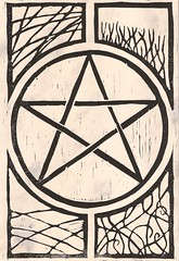 Pentagram 1 on parchment (flipped deosil)
