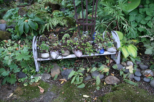 Recycled high heels as garden planters