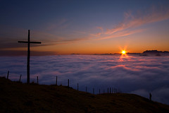 Up At 7 (Les Rho@des) Tags: mountains alps art fog sunrise switzerland cross photos hiking fine hiker cluds wanderweg rigi mywinners isawyoufirst colourartaward betterthangood damniwishidtakenthat