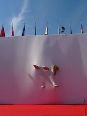 P1030230 (ezioman) Tags: venice venezia biennale filmfestival venicefilmfestival italy italia lion sculpture red passerella tappetorosso mostradelcinema cinema festival cinefestival leonedivenezia leonealato golden cleaning flags europa europe