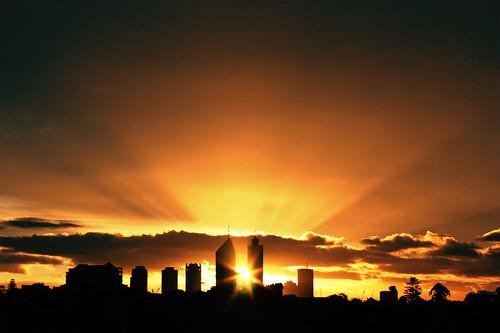 Sunset through Perth