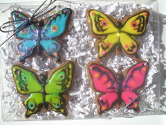 Sam & Adrian's Butterflies (sweetopia*) Tags: wedding cookies yellow butterfly flooding turquoise gingerbread butterflies lime fushia weddingfavours sweettreats royalicing decoratedcookies mariantatyana samadrianswedding