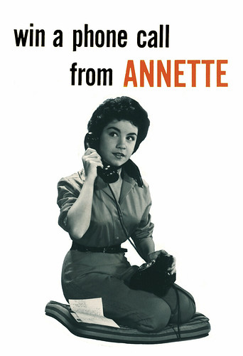 Win a Phone Call From Annette, 1958