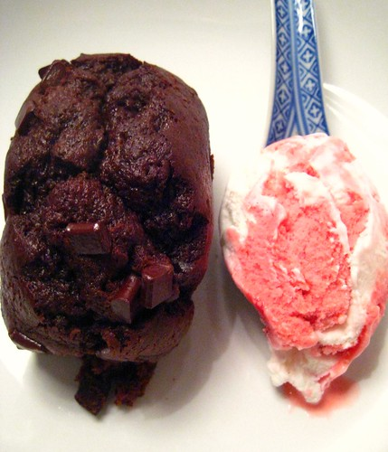 Warm Chocolate Chip Cake with Strawberry Yogurt Ice Cream
