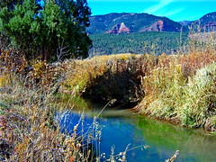 Shadows and Streams (mountainbeliever) Tags: autumn usa mountain mountains west fall nature water outdoors october scenery colorado colorful view country blues rivers views rockymountains streams runningwater mothernature irrigation fourcorners sunnyday southwestcolorado americansouthwest coloradowater riversandponds