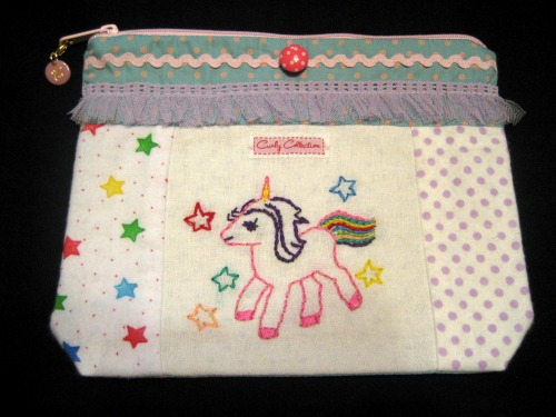Handmade accessory bags with unicorn embroidery