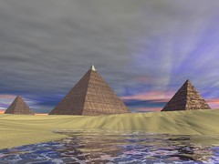 Pyramids (Vestaligo - Vacation with Internet connection) Tags: water 3d ancient desert pyramid bryce3d render digitalart virtualreality wste otw golddragon knstlichewelten citrit theperfectphotographer artgalleryandmuseums rubyphotographer gr8photo damniwishidtakenthat kunstplatzlinternational vosplusbellesphotos mallmixstaraward