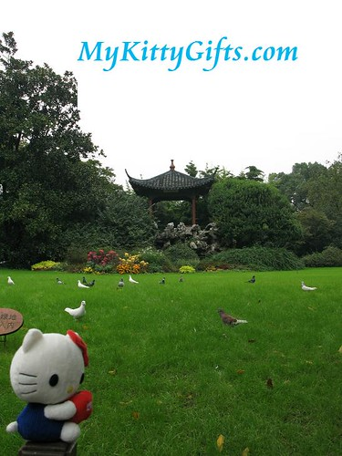 Hello Kitty's View of Pagoda and Green Lawn in Peony Garden, HangZhou