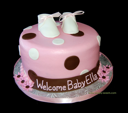 brown and pink polka dot baby shower cake