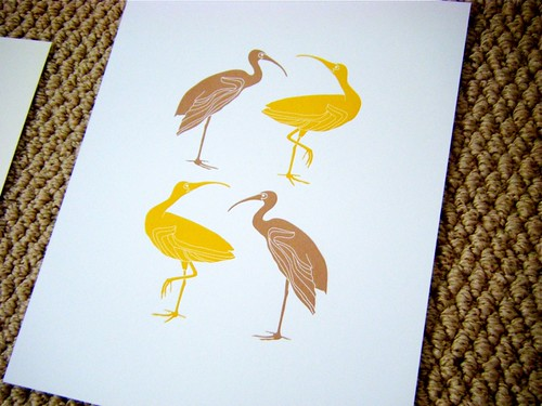 land birds letterpress print