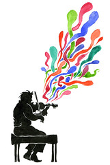 Musical interlude (maralina!) Tags: musician music color colour art silhouette illustration ink watercolor sketch rainbow drawing aquarelle performance sketchbook dessin violin imagination fiddle busker couleur multicolor musique encre synesthesia croquis carnet musicien polychrome violon