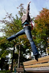 Touch the sky. (hindechica3) Tags: autumn bench leap touchthesky overthebench
