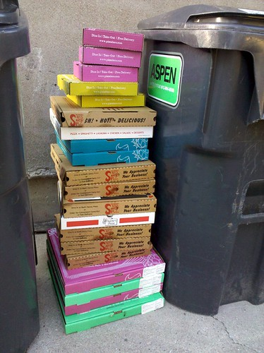 Stacked pizza boxes