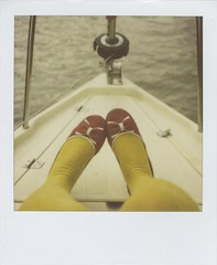 River Cruise Fancy Feet (Lizzie Staley) Tags: cruise red white selfportrait film feet water stockings yellow self river bristol polaroid sx70 boat spring shoes pumps legs tights spotty 600 bow sail expired avon polkadot twelveproject