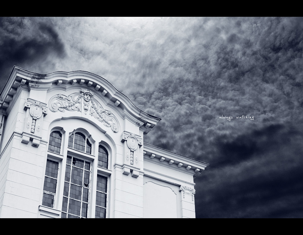 Project 365, Day 307, 307/365, old house, abandoned, lost, angel, watching, always watching, broken windows, church windows, sky, dramatic sky, dark, gloomy, Sigma 50mm F1.4 EX DG HSM, 50mm, 50mm, drama, contrast, black and white, b&w, sky, clouds, light,