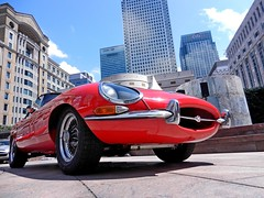 Jaguar E-Type at Cabot Sqaure (DaveJC90) Tags: show birthday new old light sun sunlight classic sports car display sunny motor jaguar hatch 50th canarywharf etype cabotsquare motorexpo worldcars mygearandme ringexcellence