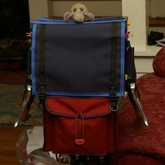 Giant rando bag (front) + dust mite
