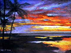Pacific sunset (vera LP) Tags: sunset art painting de hawaii soleil zonsondergang pacific drawing pastel coucher hawai