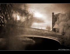 Over the bridge (Pipall) Tags: street uk longexposure bridge trees england blur castle texture monochrome sepia clouds ir canal bottom surrey textures infrared desaturated guildford highstreet hoya takeabow r72 stnicolaschurch floortexture abigfave rebelxti canoneos400d impressedbeauty diamondclassphotographer