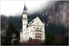 Neuschwanstein Castle in the Clouds (kimberlyrenee photography) Tags: mist castle fog clouds germany landscape bayern deutschland bavaria landscapes explore vista neuschwanstein fssen neuschwansteincastle digitalcameraclub explored frhwofavs yourcountry