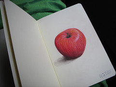 Moles-Sin (Digital Owl) Tags: art moleskine apple fruit sketch manzana drawing sketchbook forbidden sin dibujo ringo apfel pomme poma colourpencils mge digitalowl yabloko sagarra digiowl