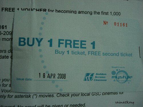 Buy one free one GSC Movie Tickets